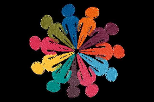 Symbolik eines Netzwerkes durch verschiedenfarbig gezeichnete Menschen ©Bild von Gerd Altmann auf Pixabay