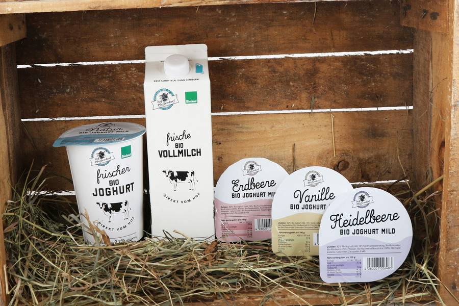 Blick auf die Produkte der Molkerei Pfaffendorf ©Molkerei Pfaffendorf