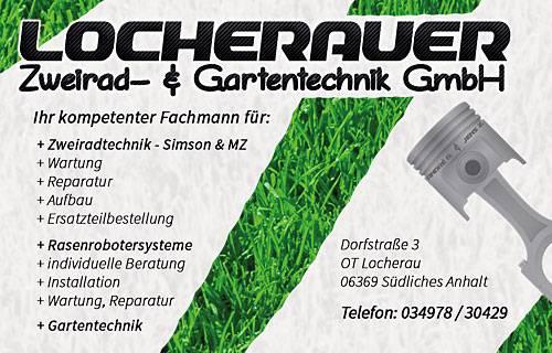 Blick auf das Schild der Locherauer Zweirad- und Gartentechnik GmbH © Locherauer Zweirad- und Gartentechnik GmbH
