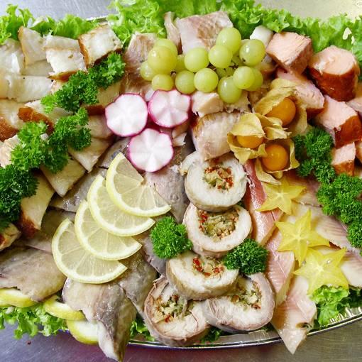 Blick auf eine Fischplatte des Fischhauses Rosenkranz © Fischhaus Rosenkranz